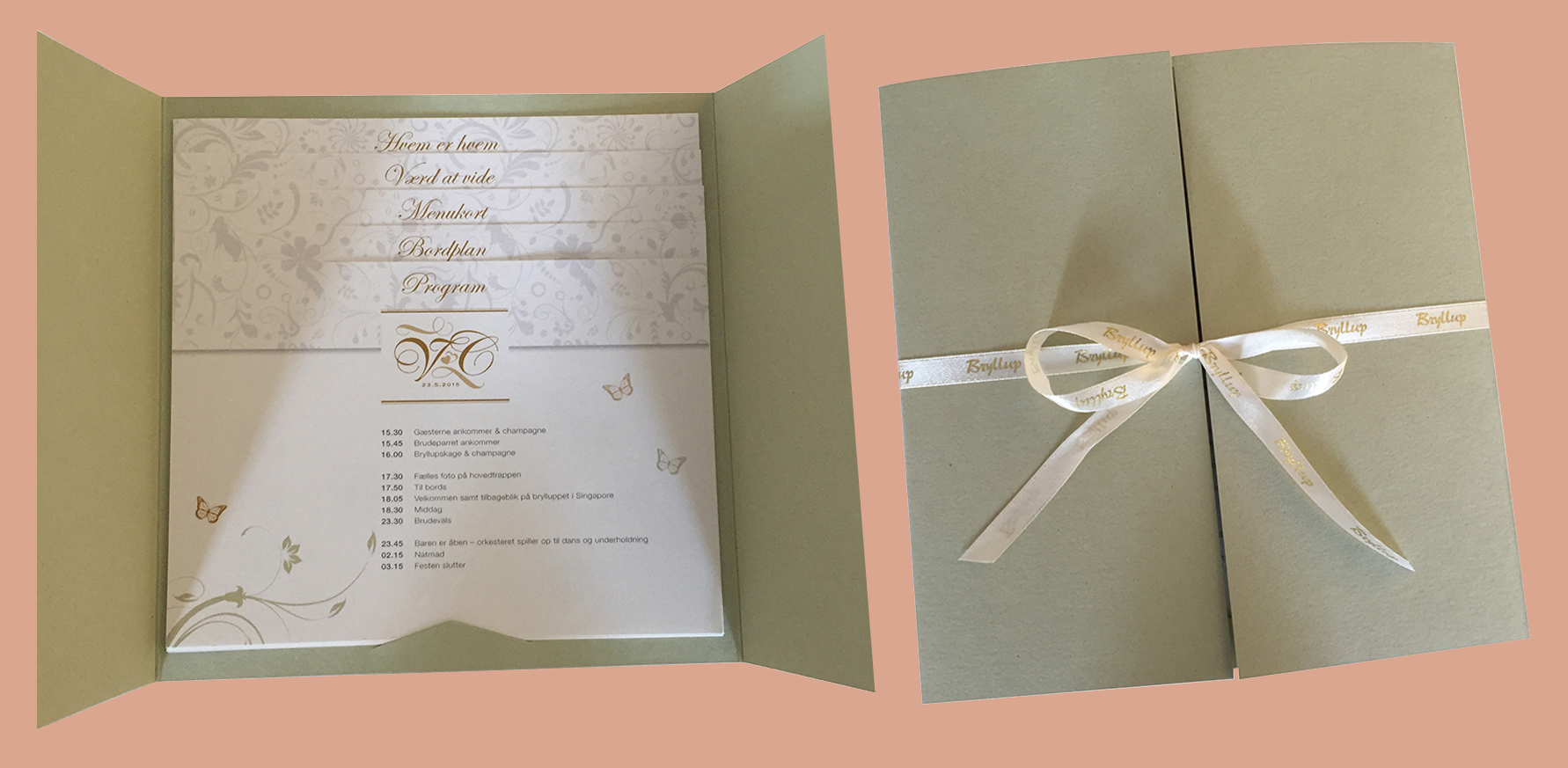 Bryllupsinvitation, bordkort, menukort, bordplan m.m.